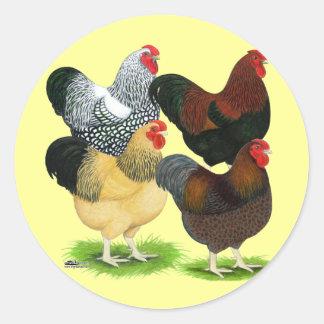 Wyandotte:  Rooster Assortment Round Stickers
