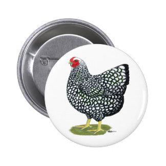 Wyandotte:  Silver-laced Hen 6 Cm Round Badge