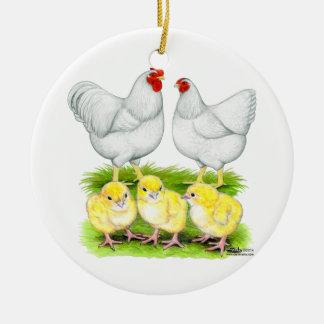 Wyandotte White Chicken Family Round Ceramic Decoration