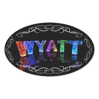 Wyatt - The Name Wyatt in 3D Lights (Photograph) Oval Sticker