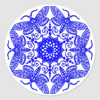 Wycinanka Moth Pattern Round Sticker