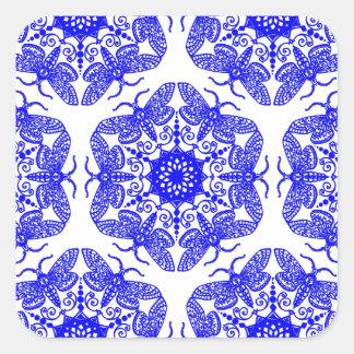 Wycinanka Moth Pattern Square Sticker