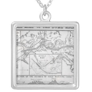 Wyld's Official Map of the Suez Maritime Canal Silver Plated Necklace