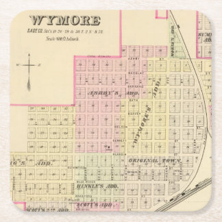 Wymore and Filley, Nebraska Square Paper Coaster