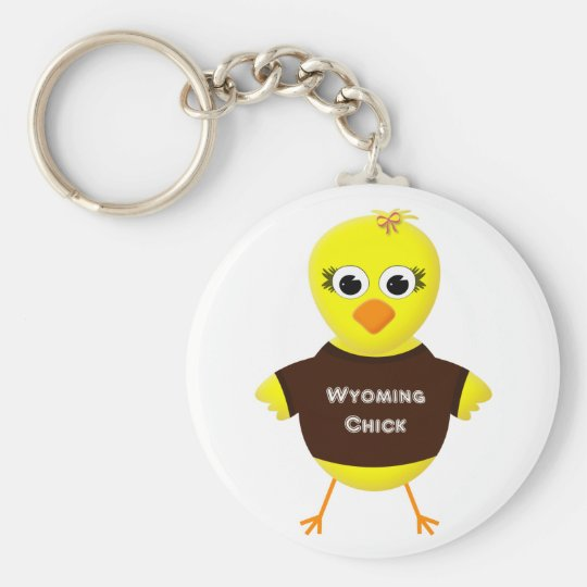 Wyoming Chick Cute Cartoon Chicken Basic Round Button Key Ring
