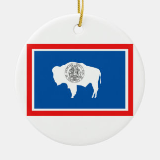 Wyoming Flag Round Ceramic Decoration