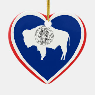 Wyoming Flag Heart Christmas Ornament