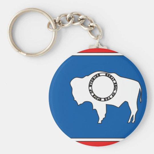Wyoming Flag Map Basic Round Button Key Ring