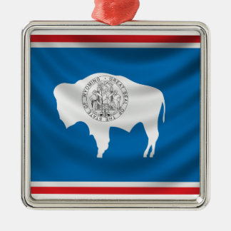Wyoming Flag Silver-Colored Square Decoration