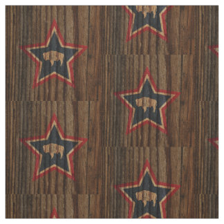 Wyoming Flag Star on Wood theme Fabric