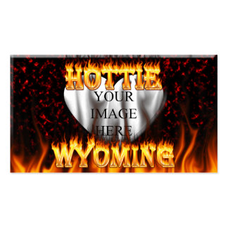 Wyoming Hottie fire and red marble heart. Pack Of Standard Business Cards