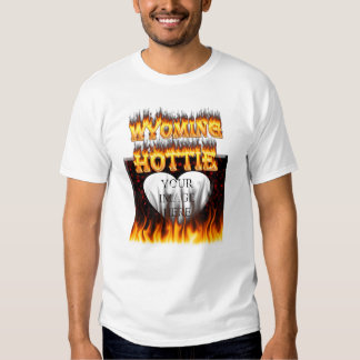 Wyoming Hottie fire and red marble heart. Tee Shirts