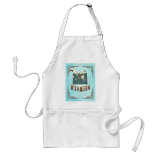 Wyoming Map With Lovely Birds Adult Apron