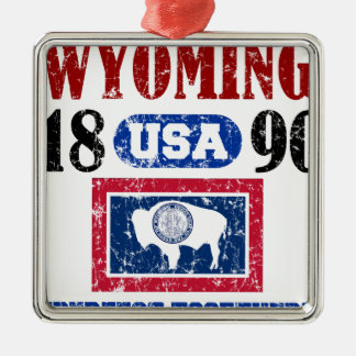 WYOMING PERFECT TOGETHER DISTRESSED PRODUCTS CHRISTMAS ORNAMENT