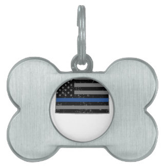Wyoming Police & Law Enforcement Thin Blue Line Pet Name Tags