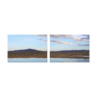 Wyoming Pond at Dawn Diptych Canvas Print
