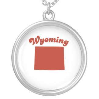 WYOMING Red State Round Pendant Necklace