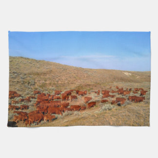 Wyoming Reds Cattle Kitchen Towel