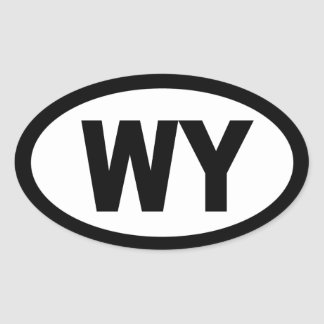 Wyoming - sheet of 4 oval car stickers