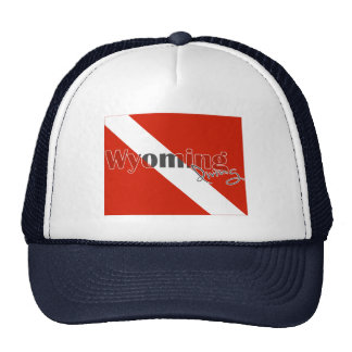 Wyoming State Diving Flag Trucker Hats