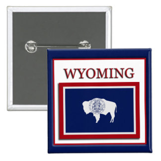 Wyoming State Flag Design Button