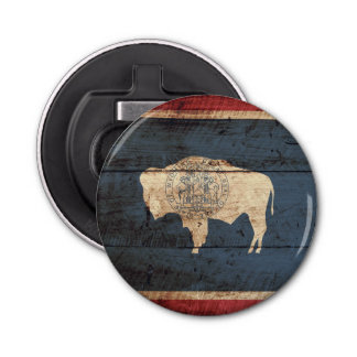 Wyoming State Flag on Old Wood Grain