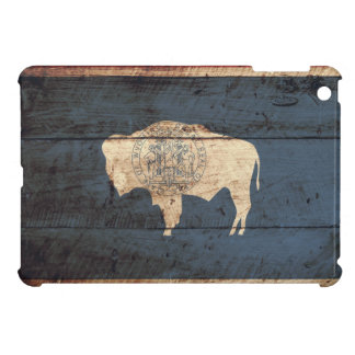 Wyoming State Flag on Old Wood Grain Cover For The iPad Mini