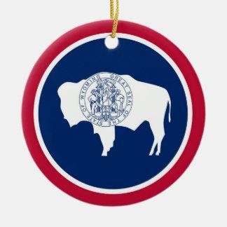 Wyoming State Flag Round Ceramic Decoration