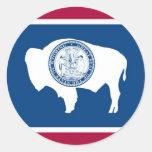 Wyoming State Flag Round Stickers