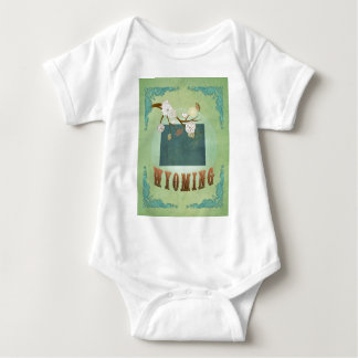 Wyoming State Map – Green Baby Bodysuit