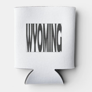 Wyoming State Name Word Art Black Can Cooler