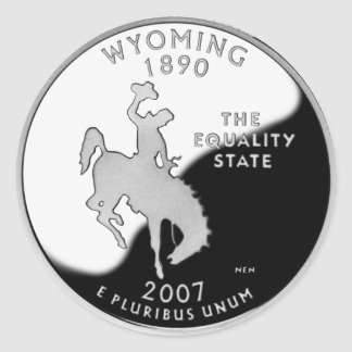 Wyoming State Quarter Classic Round Sticker