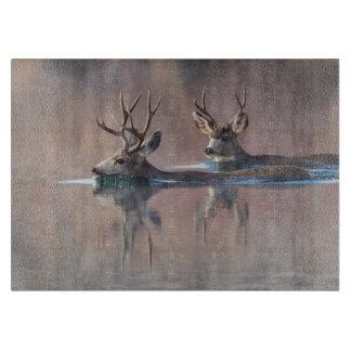 Wyoming, Sublette County, Mule deer bucks Cutting Board