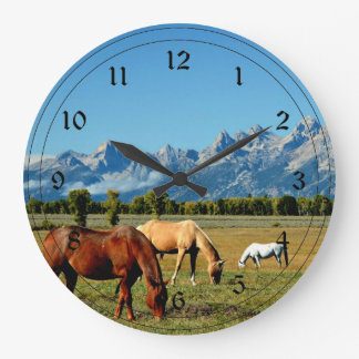 Wyoming, Teton Mountains, with Horses Grazing Wall Clock