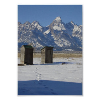Wyoming Tetons Outhouse Deluxe Print