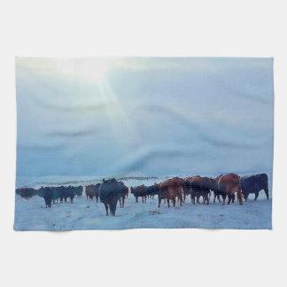 Wyoming Winter Push Cattle Kitchen Towel