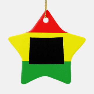 Wyoming with Rasta Colors Christmas Ornament