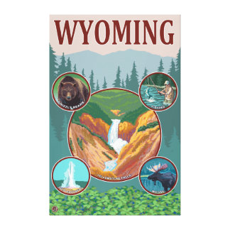 WyomingWyoming Collage Canvas Print