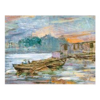 Wyspianski, Barges on the Seine, 1894 Postcard