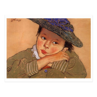 Wyspianski, Girl in a Blue Hat, 1895 Postcard