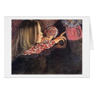 Wyspianski, Helenka with a Vase of Flowers, 1902 Note Card