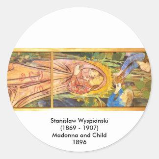 Wyspianski, Madonna and Child, 1896 Round Sticker
