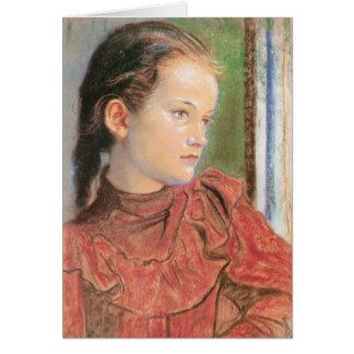 Wyspianski, Portrait of a Girl in a red Dress 1895 Note Card