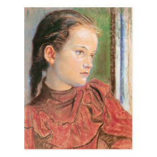 Wyspianski, Portrait of a Girl in a red Dress 1895 Postcard