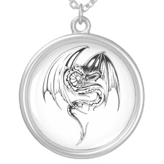 Wyvern Dragon Are Fantasy Mythical Creatures Round Pendant Necklace