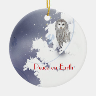 X003_Winter Owl, Peace on Earth Christmas Ornament