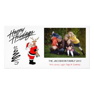 X1 Santa Hugs Reindeer Holiday Photo Cards