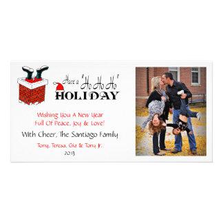 X2 Santa Feet Chimney Xmas Photo Cards