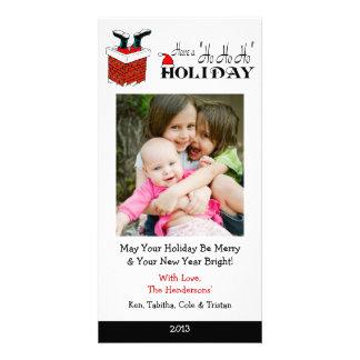 X3 Santa Feet Chimney Xmas Cards Customised Photo Card