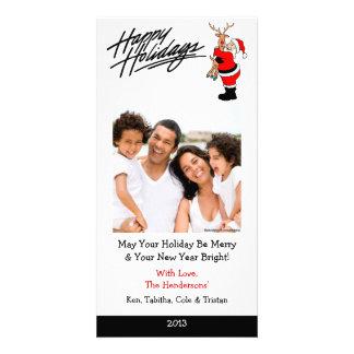 X3 Santa Hugging Rudolph Xmas Cards Custom Photo Card